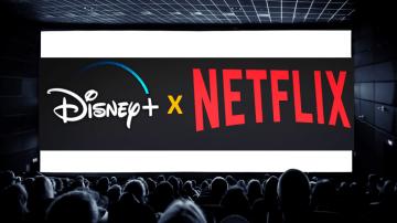 Tela de cinema com Disney e Netflix