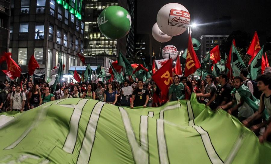 Manifestação de sindicatos de trabalhadores