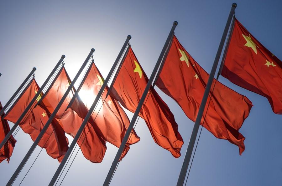Bandeiras da China ao vento