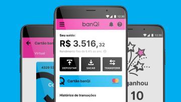 telas do BanQi, fintech do grupo Via Varejo