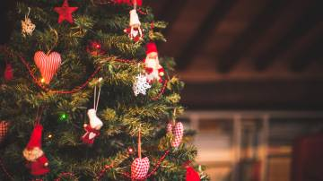 Árvore enfeitada com artigos de decoração natalino