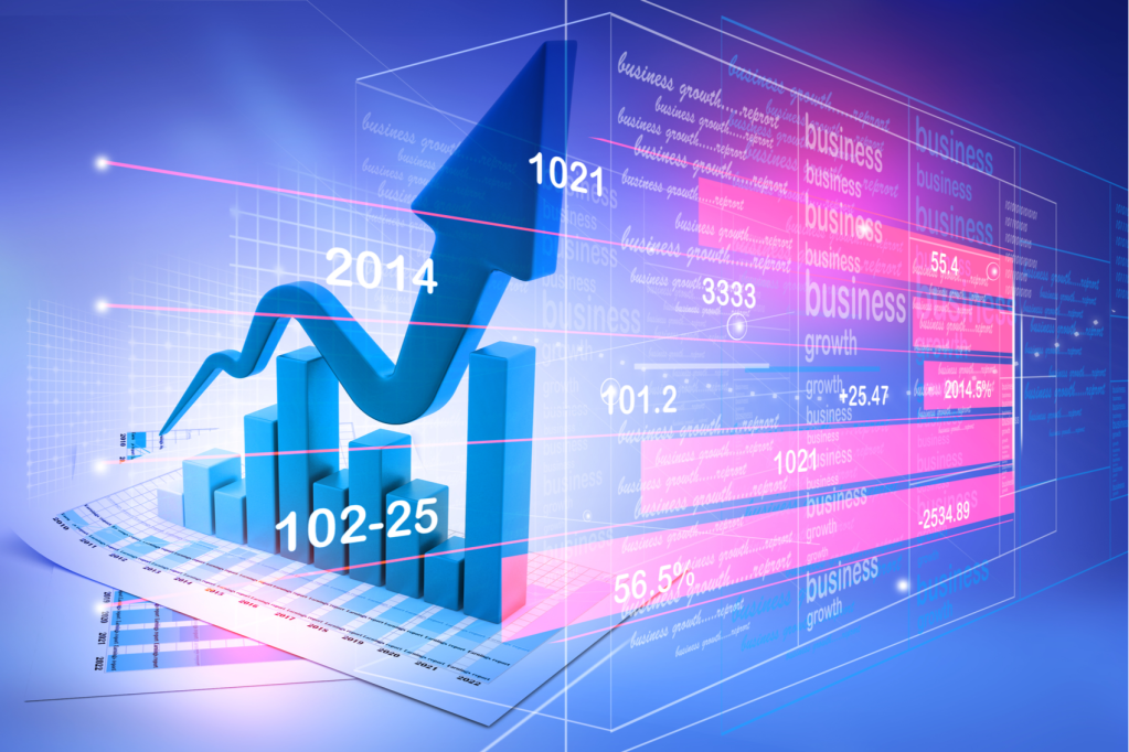 gráfico de ações e índices em cuva de alta