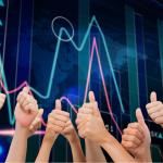 gráfico do mercado com sinais de positivo