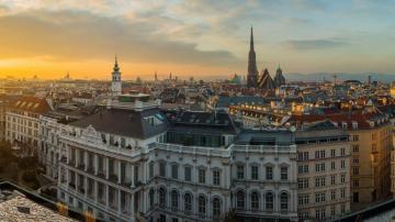 Pôr-do-sol na cidade de Viena