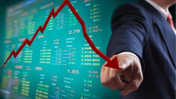gráfico de ações e índices em queda
