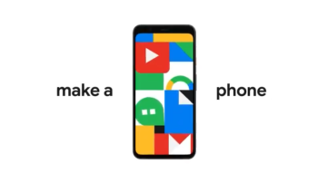 """Apresentação do Pixel 4; Celular novo do Google em um fundo branco entre a frase """"Make a phone"""""""