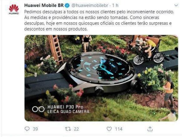 Tweet da Huawei se desculpando por uso indevido de sua conta