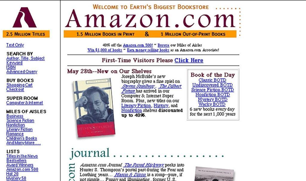 tela da Amazon em 1997