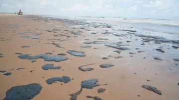 Mancha de petróleo em praia do Sergipe — Adema/Governo de Sergipe