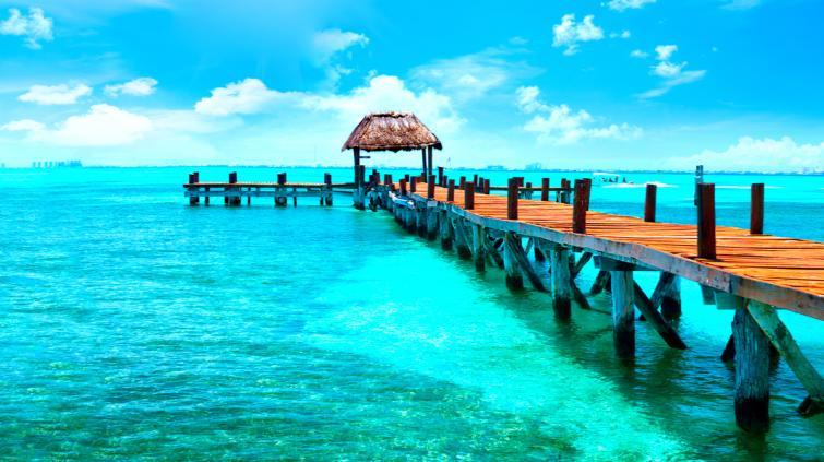 praia em Cancún, no México