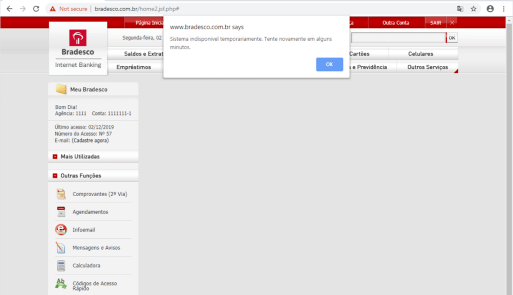 Interface do site falso do Bradesco.