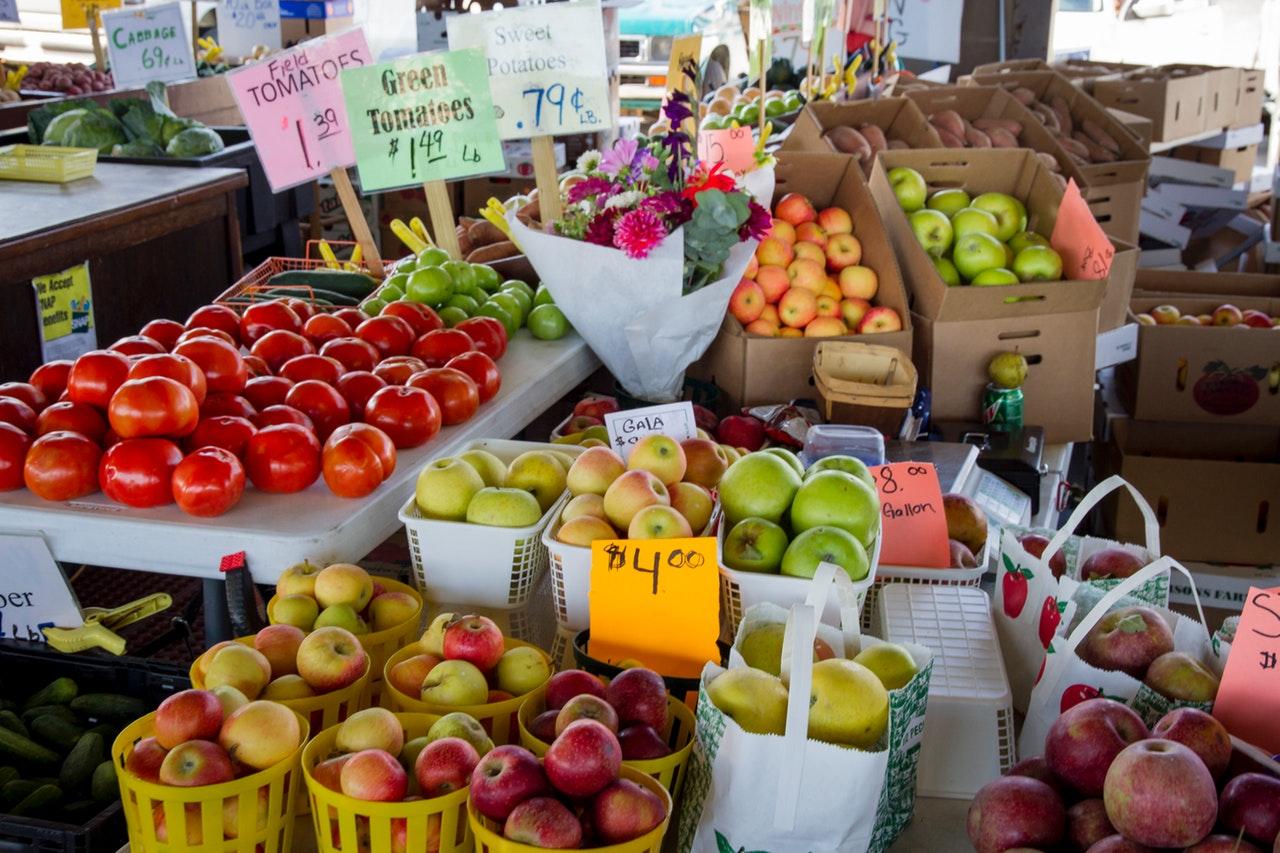 Preços de alimentos na feira