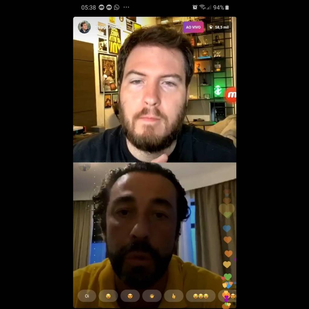 Thiago Nigro e João Adibe conversam em live do Primo Rico