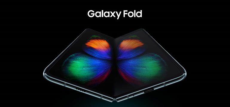 Capa de anúncio do novo Galaxy Fold. Celular aparece com a tela levemente dobrada ao centro da imagem