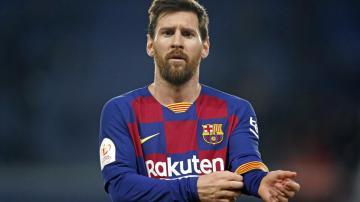 Leonel Messi com camisa do Barcelona mostrando patrocinio da Rakuten