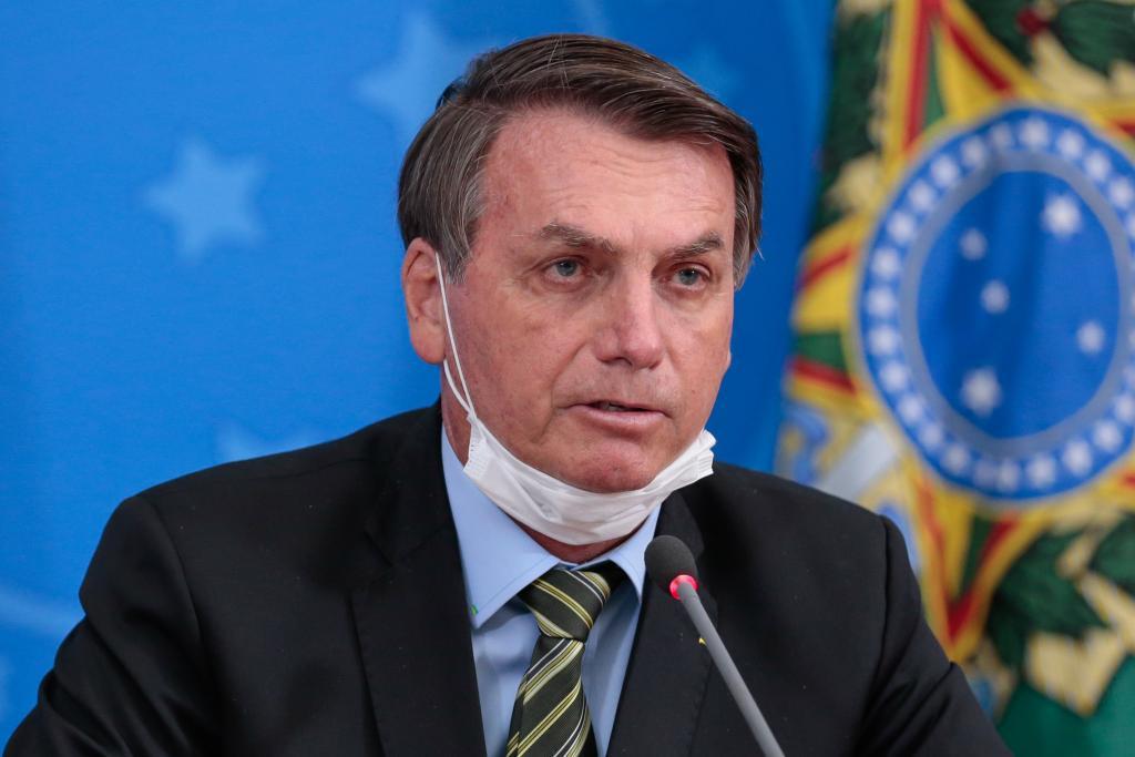 O presidente Jair Bolsonaro em coletiva de imprensa