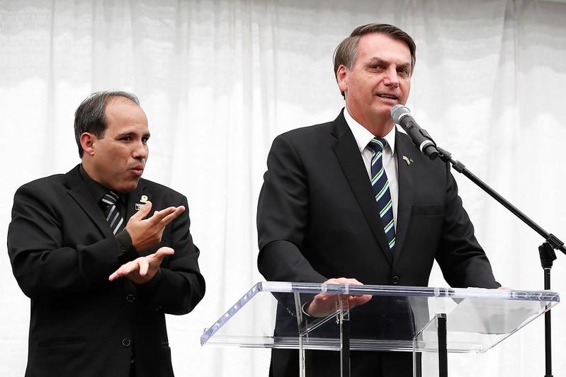 O presidente Jair Bolsonaro em palanque
