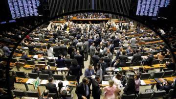 Plenário da Câmara durante sessão do Congresso