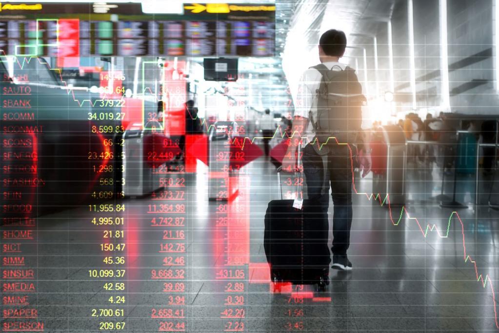 ações índices gráficos aeroporto aéreas aviação alta baixa