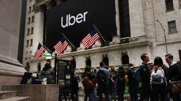Banner da Uber na Bolsa de Nova York
