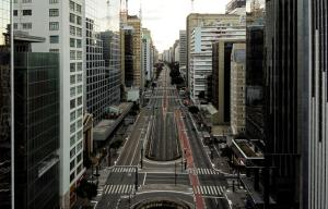 SÃO PAULO, BRAZIL - APRIL 04: An aerial view of Paulista Avenue during the coronavirus (COVID-19) pandemic on April 4, 2020 in Sao Paulo, Brazil. According to the Ministry of health, as of today, Brazil has 10.278 confirmed cases of the coronavirus (COVID-19) and at least 431 recorded deaths. (Photo by Alexandre Schneider/Getty Images)