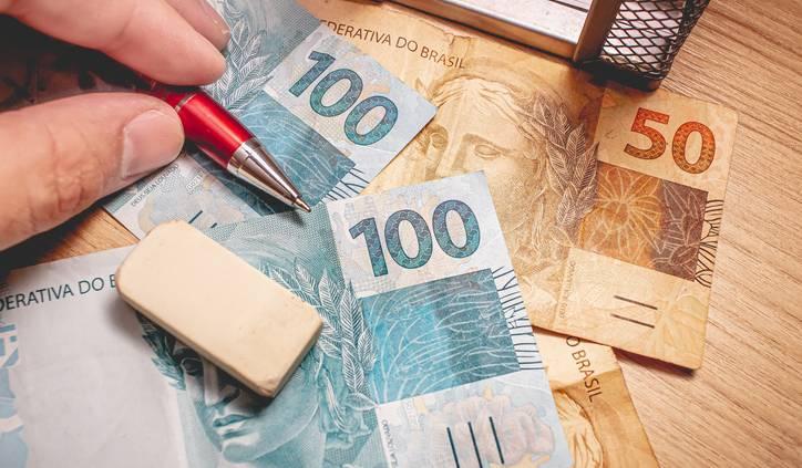 Dinheiro mesa notas real