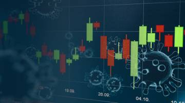 Trading chart with business cell of coronavirus CODIV-19 on the transparent background