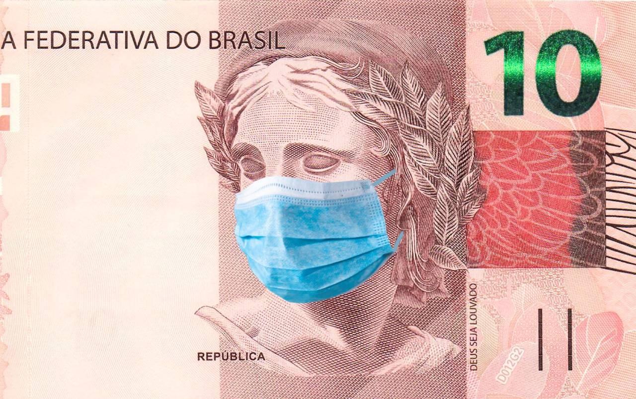 brasil dinheiro real nota 10 reais máscara covid coronavírus