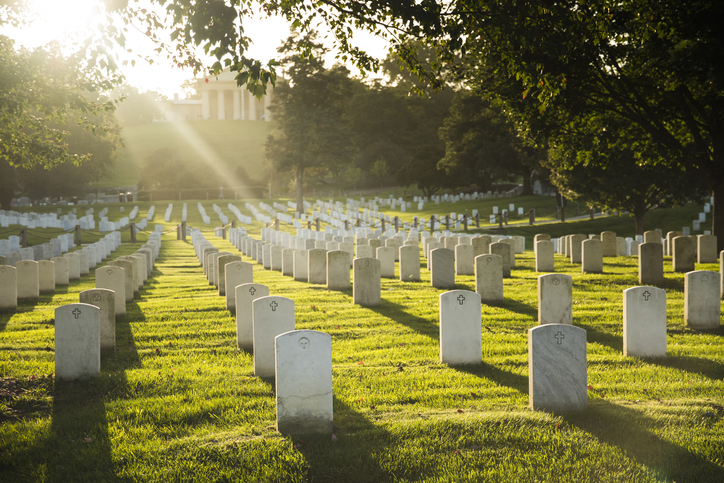 Sun sets over Arlington Cemetery