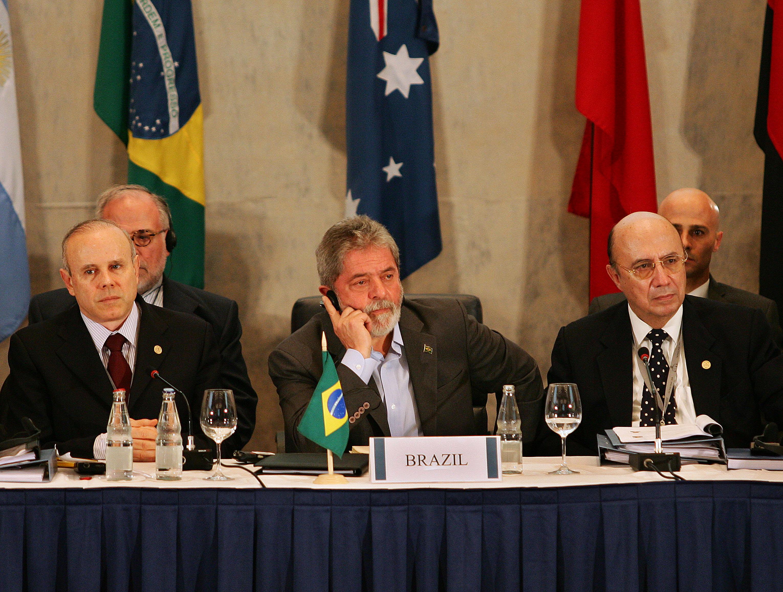 Guido Mantega, Luiz Inácio Lula da Silva e Henrique Meirelles