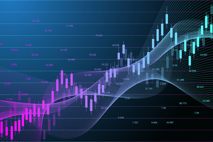 Stock market or forex trading graph chart suitable for financial investment concept. Economy trends background for business idea. Abstract finance background. Vector illustration