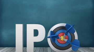 3D Word IPO with Target on Chalkboard Background - 3D Rendering