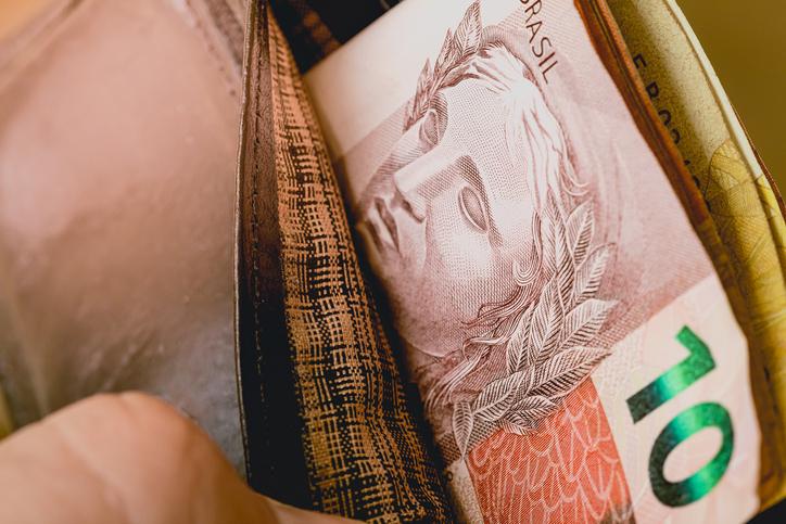 Brazilian Currency - Brl. Money bills in a wallet.