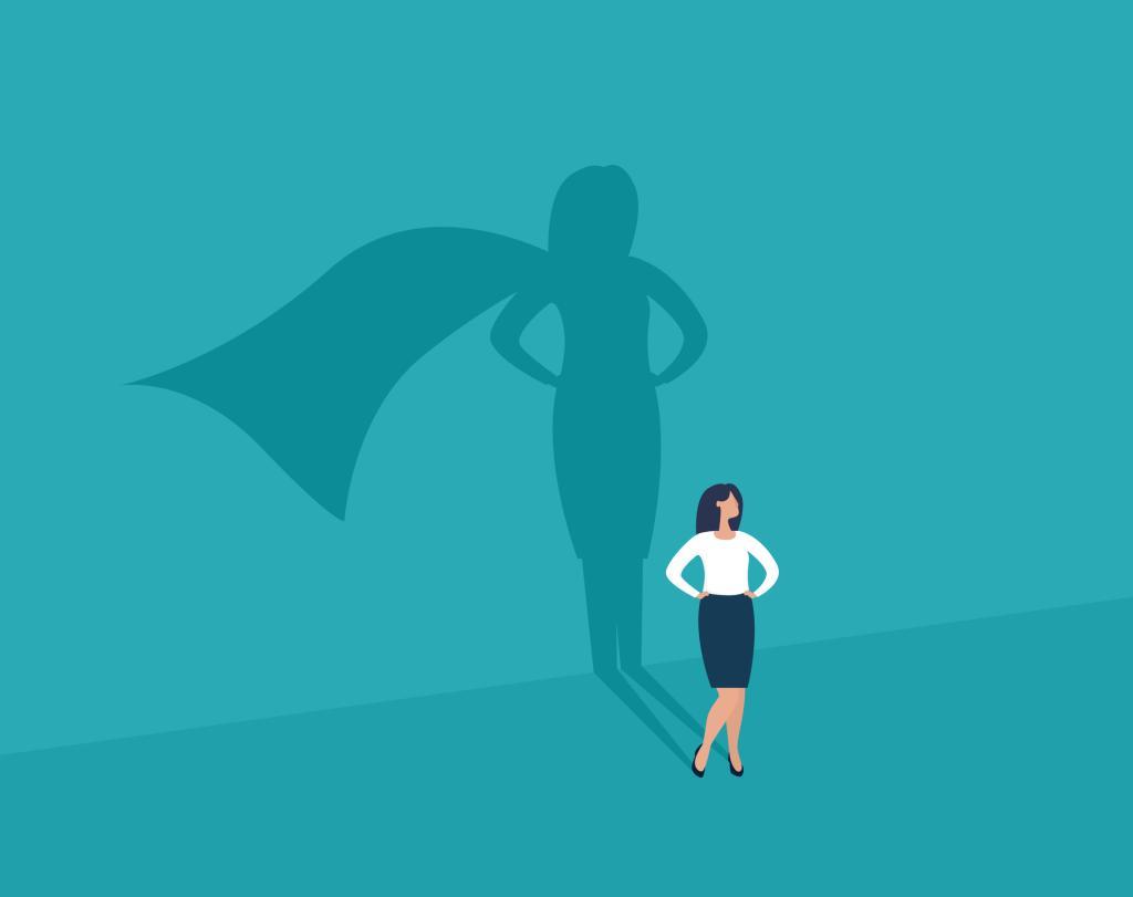 Businesswoman and shadow superhero.