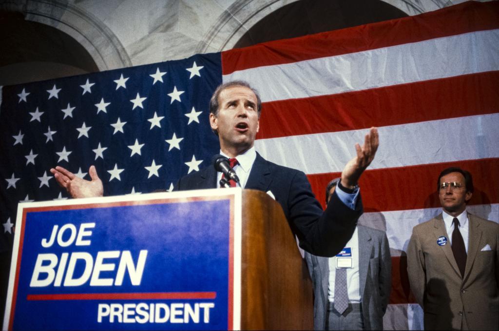 Joe Biden na campanha presidencial de 1988