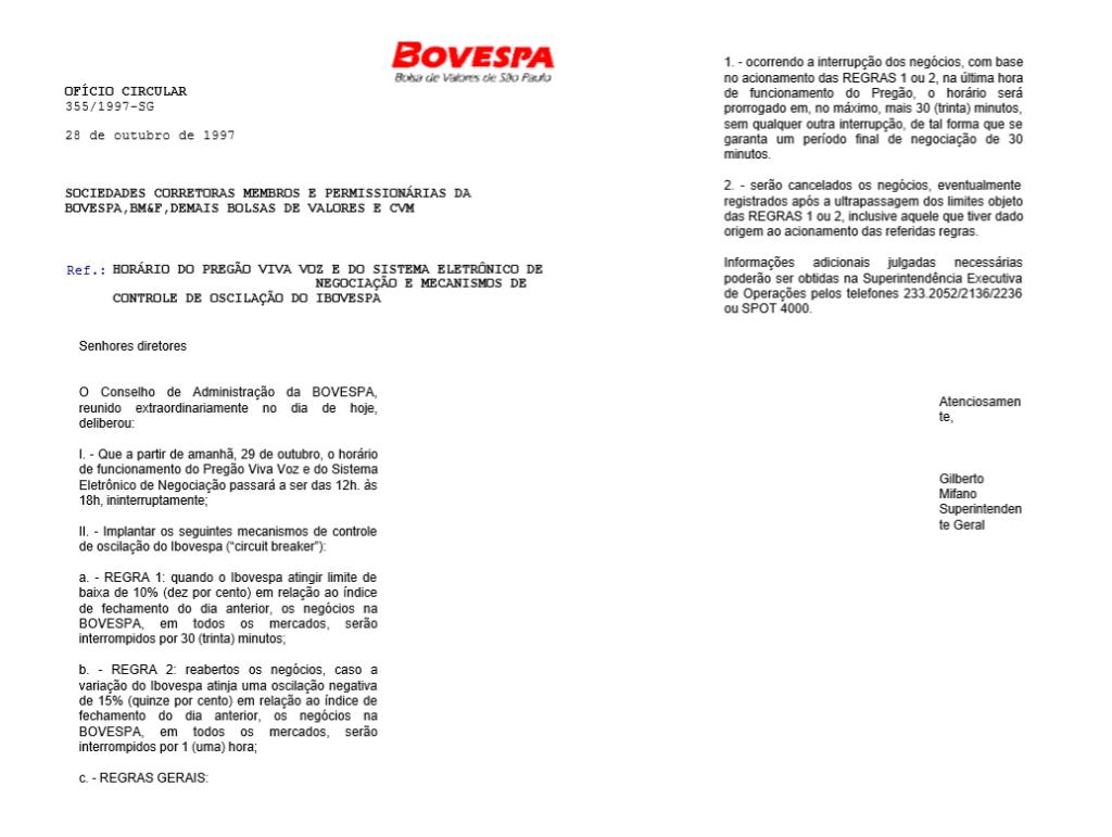 Comunicado sobre o primeiro circuit breaker da Bovespa (B3) da história
