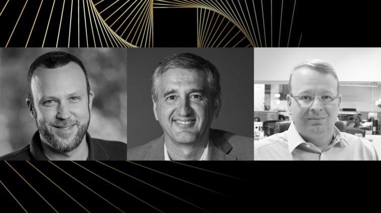 Dennis Herszkowicz, CEO da Totvs, Marco Stefanini, CEO da Stefanini, e Fernando Cirne, CEO da Locaweb