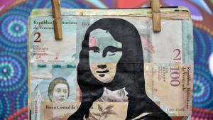 Arte feita em bolívar, moeda da Venezuela