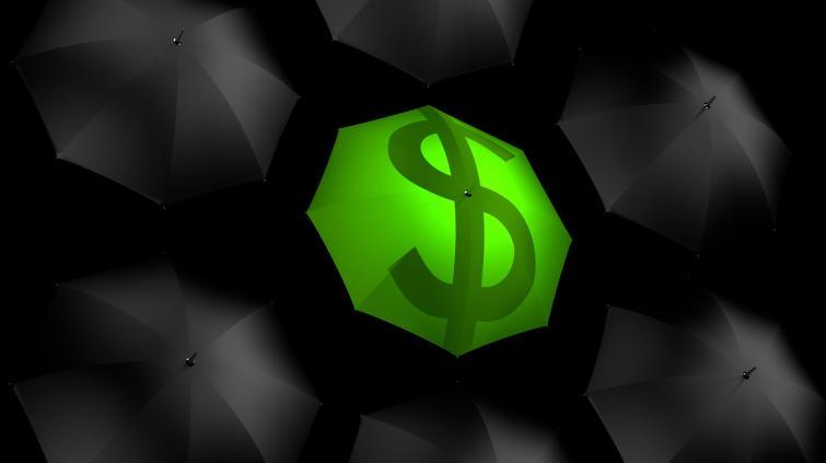 Guarda-chuva proteção dinheiro