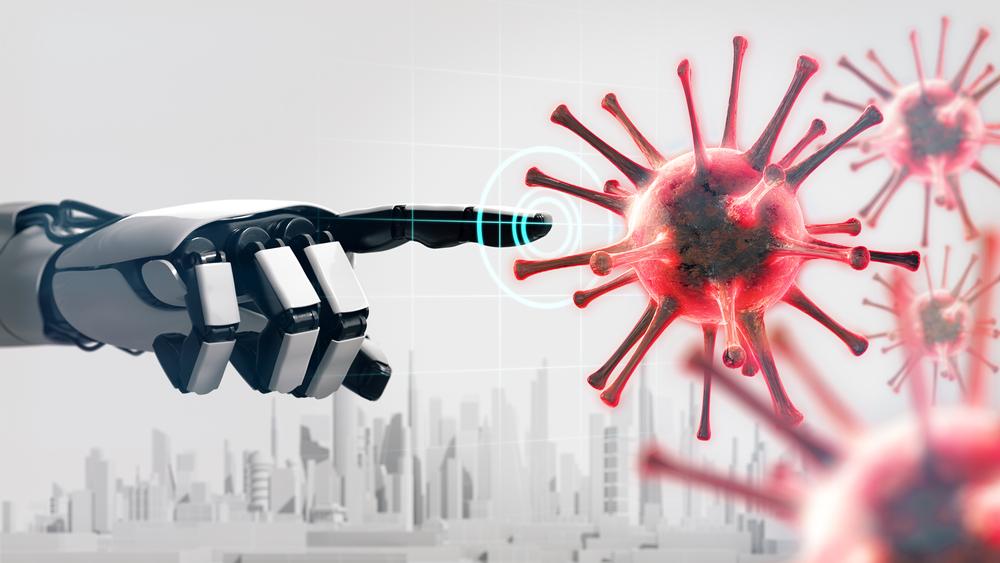 Mão de robô apontando para vírus