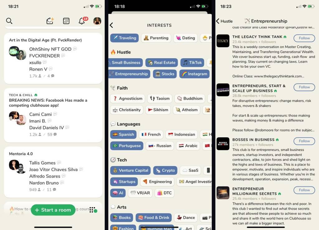 Telas do aplicativo Clubhouse (Reprodução)