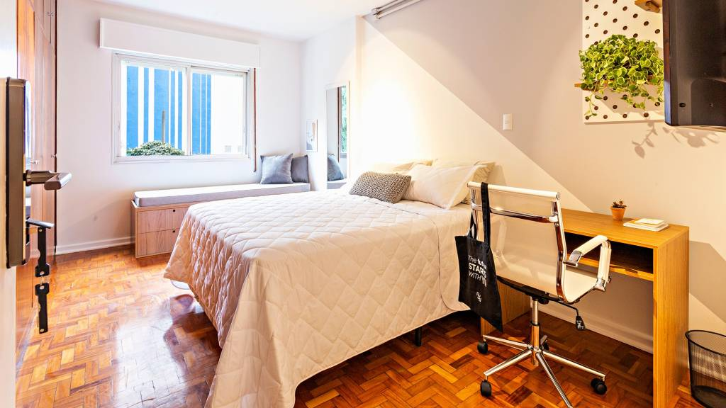 Dormitório de apartamento alugado pela Yuca (Divulgação)