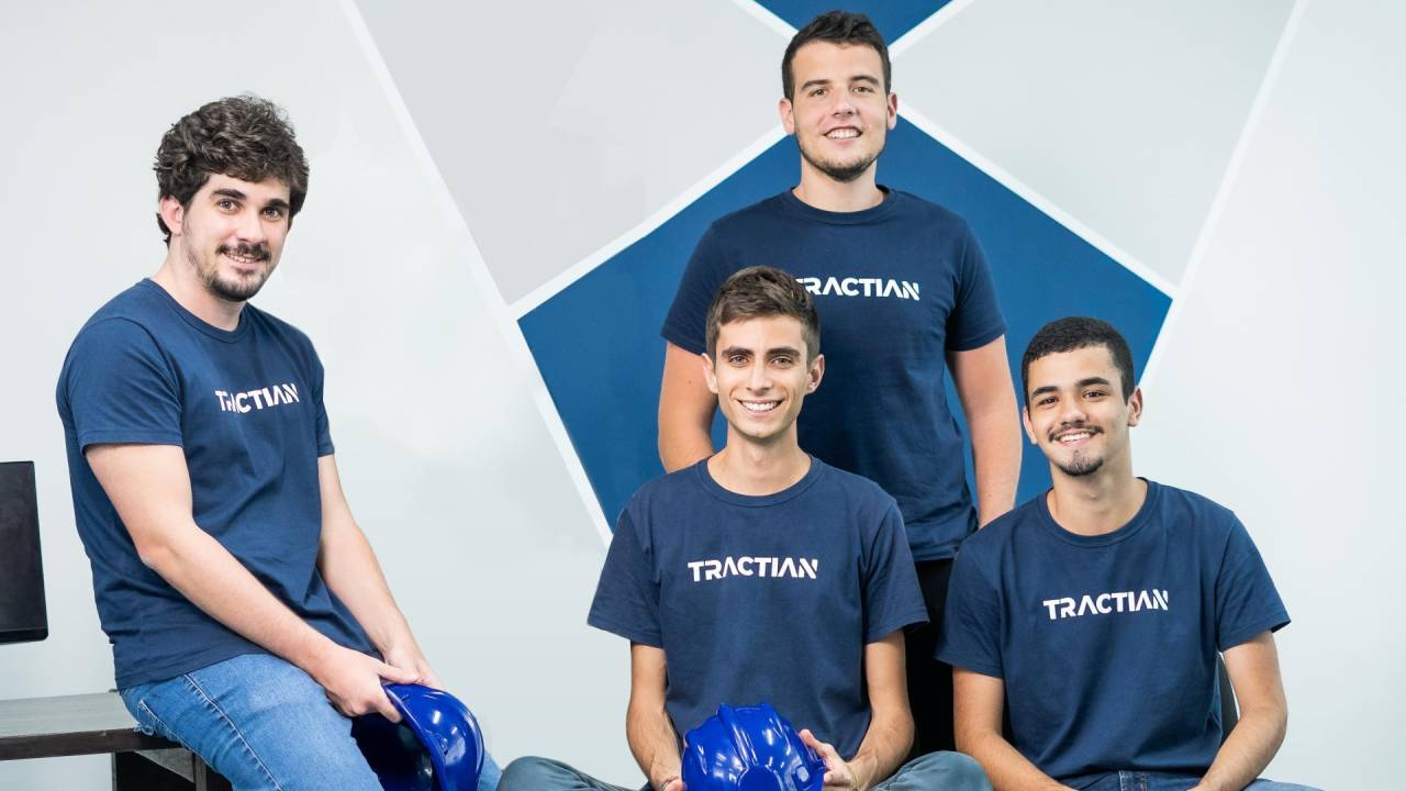 Leonardo Vieira (CCO), Igor Marinelli (CEO), Gabriel Lameirinhas (COO) e Bruno Felix (CTO), da Tractian