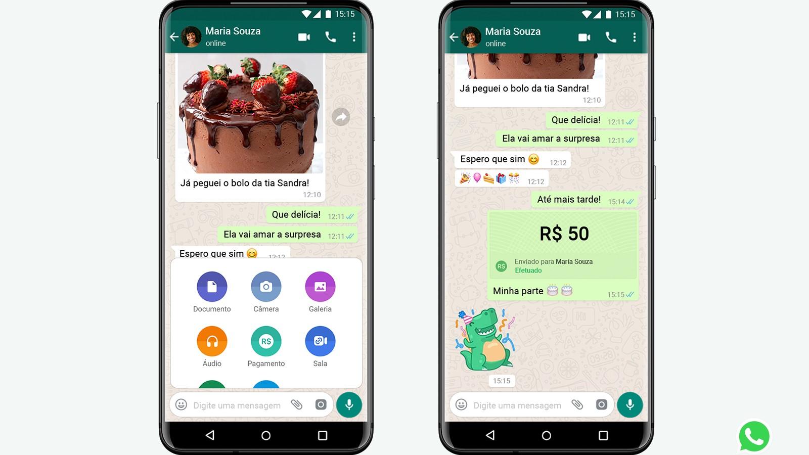 Exemplo de pagamento pelo WhatsApp (Divulgação)